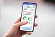 Leinwandbild Motiv Hands Holding Cell Phone With Blank Screen