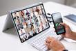 Leinwandbild Motiv Online Video Conference Meeting On Tablet
