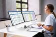 Leinwandbild Motiv Medical Bill Codes And Spreadsheet Data