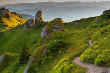Mountain Trail Lined With Huge Rocks In The Carpathians