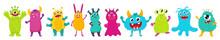 A Set Of Cute Monsters. Bright Cartoon Characters. Children's Vector Illustration. Flat Style, Isolated On A White Background.
