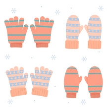 Set Of Winter Mittens And Gloves. Warm Mittens. Winter Accessories