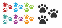 Black Paw Print Icon Isolated On White Background. Dog Or Cat Paw Print. Animal Track. Set Icons Colorful. Vector