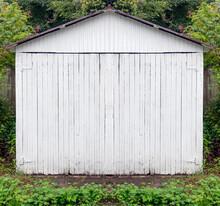 Vintage Old Fashioned Wood And Steel Garage.