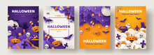 Happy Halloween Party Posters Set With Night Clouds And Pumpkins In Paper Cut Style. Vector Illustration. Full Moon, Witch Cauldron, Spiders Web And Flying Bat. Place For Text. Brochure Background