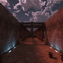 3d-illustration Of Ancient Fantasy Temple Catacombs Background