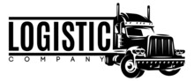 Monochrome Template With A Truck For Long-distance Transportation Of Goods. The Topic Of Large-scale Delivery And Logistics. Design Element For Business Cards, Flyers, Advertisements, Webdesign