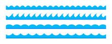 Set Of Blue Sea Waves Pattern Borders Design Element. Vector