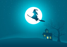 Witch Riding A Broomstick Flying On Scary House And Tree With Full Moon As The Background