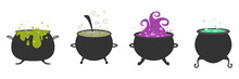 Halloween. Black Vector Cauldron With Green Witches Magic Broth