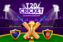 T20 Cricket Championship Concept New Zealand Vs Afghanistan Match Header Or Banner With Cricket Ball, Bat And Winning Trophy On Stadium Background.