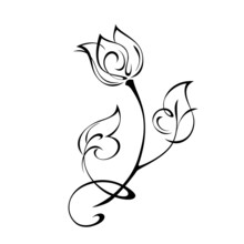 Ornament 1973. One Stylized Flower Bud On A Curved Stem With Leaves And Curls. Graphic Decor