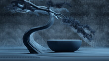 Japanese Style Abstract Background In Rain Season.stone Podium And Bonsai Tree With Twilight Scenes Background For Product Presentation. 3d Rendering Illustration.