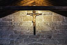 Crucifix Inside A Small Chapel At The Guimarães Castle (Castelo De Guimarães)