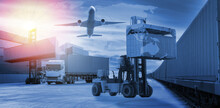 Transportation Logistics And Container Train Cargo And Cargo Plane Flying With Working Crane Forklift And Truck With Transport Logistic Import And Export Business.