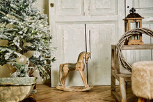 Children's Christmas Vintage Gifts Stand Under Tree On New Year's Eve