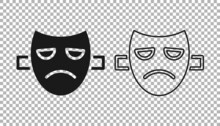Black Drama Theatrical Mask Icon Isolated On Transparent Background. Vector