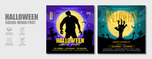 Halloween Horror Night Dj Party Social Media Post Template Design. Scary Zombie Or Ghost Club Party, Festival, Holiday And Celebration Event Marketing Web Banner, Flyer Or Abstract Poster.