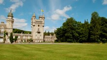 Cinematic View Of Balmoral Castle, A Large Residence In Royal Deeside, Scotland, UK, Developed By Queen Victoria In 1856