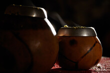 Two Yerba Mate Calabashes With Smoke.