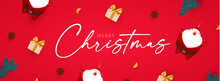 Merry Christmas And Happy New 2022 Year Design Template With 3D Elements Santa Claus, Gifts, Fir Tree And Balls. Holiday Design.