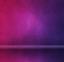 Empty Shelf On A Purple Wall. Background Template. Square Banner
