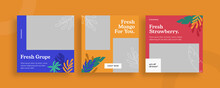 Set Of Editable Templates For Instagram Post, Facebook Square Frame, Social Media, Culinary, Beverage, Advertisement, And Business Promotion, Fresh Design And Minimalist Vector (2/3)