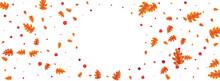 Green Plant Background White Vector. Leaves Gradation Frame. Red Leaf. Image Design. Orange Acorn Paper.