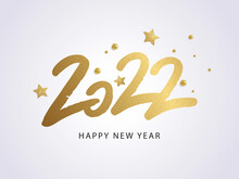 Happy New Year 2022. Vector Holiday Illustration With 2022 Logo Text Design, Sparkling Confetti And Shining Golden Stars On White Background.