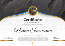 Certificate Diploma Template Blank Diploma Elegant Modern Design 2021 Creative Achievement Award Gratitude Attestation. Certificate Template With Luxury Realistic Texture Pattern And Dynamic Shapes.