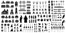 A Set Of Halloween Silhouettes Of 200 Elements On A White Background. Set Of Icon For Celebration. Vector Illustration.