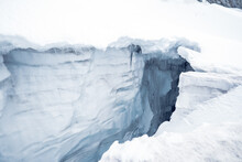 Close Up Top View Of The Crevasses In The Glacier. Very Big Hole In The Glacier Near To The Großvenediger In Austria