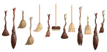 Vector Image Of A Set Of Stylized Brooms In Cartoon Style Isolated On White Background. EPS 10