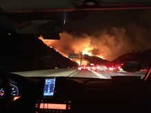 Wildfire Along The Freeway