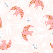 Seamless Pattern With Scandinavian Style Birds And Abstract Elements. Creative Pink Bird Texture. Great For Fabric, Textile Vector Illustration