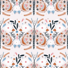 Seamless Butterflies Pattern. Creative Floral Moths With Constellation, Stars And Moons. And Flowers Great For Fabric, Textile. Vector Illustration