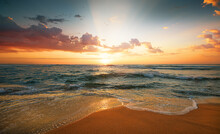 Colorful Ocean Beach. Sunrise Shot!
