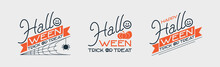 A Set Of Stylish Inscriptions Of Happy Halloween Emblems, Lettering, Ribbon, Skull, Spider And Pumpkin.