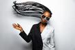 Leinwandbild Motiv Beautiful afro woman with pigtails and stylish clothes