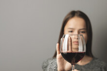 Abstinence Alcohol, Stop Liquor, Teenager Shows A Sign Of Rejection Of Wine With Her Hand, Refusal Of Alcoholism Of Minors