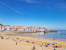 Port And Beach Of The Municipality Of Lekeitio-Lequeitio, In The Basque Country, North Of Spain. Located Next To The Cantabrian Sea. Europe. Horizontal Photography.