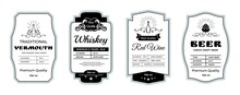 Vintage Alcohol Label. Minimalistic Stickers For Whiskey And Beer Bottles. Wine Or Vermouth Branding Emblems. Drinks Stamps Layout With Abstract Ornament Elements. Vector Tags Design Set