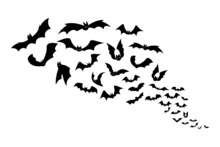 Halloween Bats. Group Of Flying Creepy Monster Animals. Black Silhouettes Of Scary Vampires Flock. Gothic Elements For October Holiday Decoration. Vector Spooky Night Winged Predators
