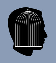 Iron Cage In Form Of Man Face. Vector Drawing Icon