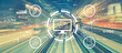 Leinwandbild Motiv E-learning concept with abstract high speed technology POV motion blur