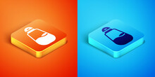 Isometric Salt Icon Isolated On Orange And Blue Background. Cooking Spices. Vector