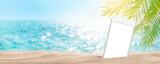Smartphone on tropical sea beach