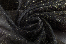 Coiled Black Neoprene Fabric With Gold Sequins