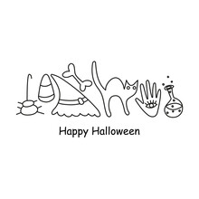 Doodle Halloween Poster With Lettering And Outline Elements, Bone, Cat, Spider, Candy Corn, Witch Hand, Witch Hat, Bottle With Poison. Isolated On White Background