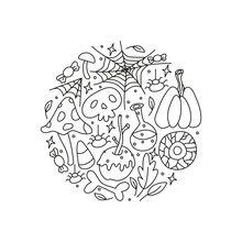 Doodle Outline Halloween Icons Including Pumpkin, Caramel Apple, Spiderweb, Poison, Leaves, Candy Corn, Bone, Skull, Eye Composed In Circle Shape, Isolated Vector Illustration On White Background